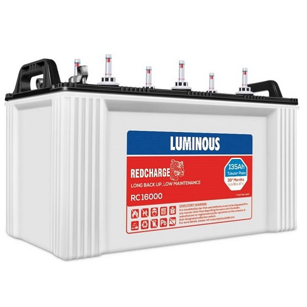 Luminous RedCharge RC16000 Short Tubular Battery Tubular Inverter Battery (135Ah)