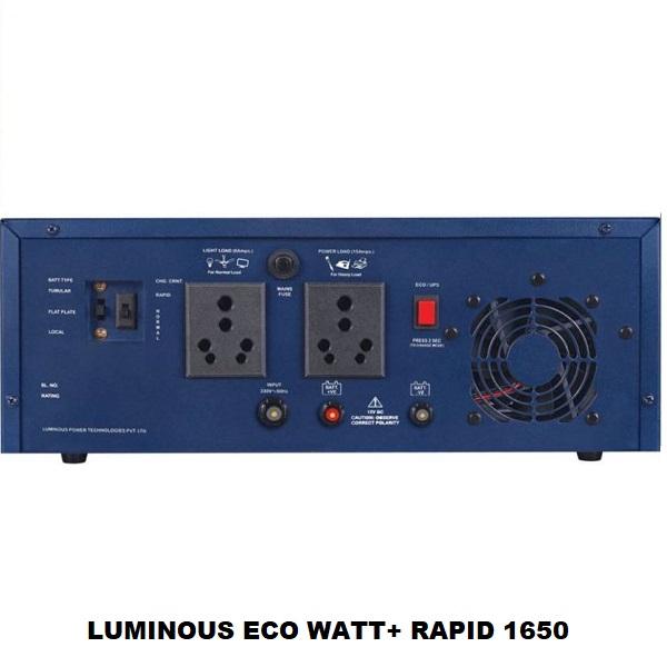 Luminous ECO WATT+ RAPID 1650 / 12V Rapid Charge Square Wave Inverter