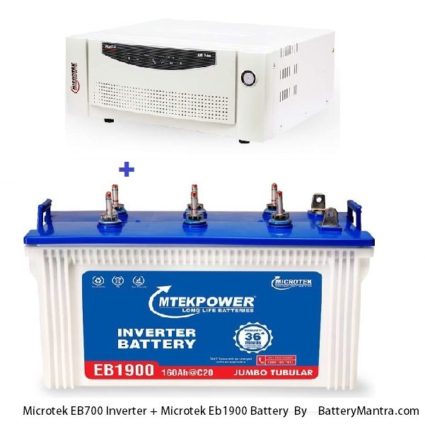 Microtek UPS EB 700 Square Wave Inverter With Microtek EB1900 160Ah Tubular Inverter Battery Combo