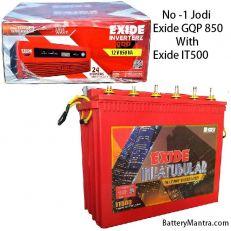 EXIDE GQP 850 SINE WAVE INVERTER WITH EXIDE INVA TUBULAR IT500 BATTERY