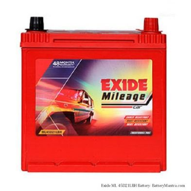 Exide Mileage FML0-ML45D21LBH 45Ah Car Battery